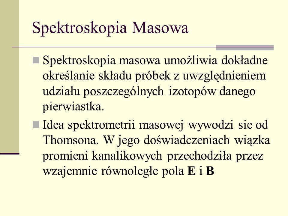 Spektroskopia Masowa Spektroskopia masowa umożliwia dokładne określanie składu próbek z uwzględnieniem udziału poszczególnych izotopów danego pierwias