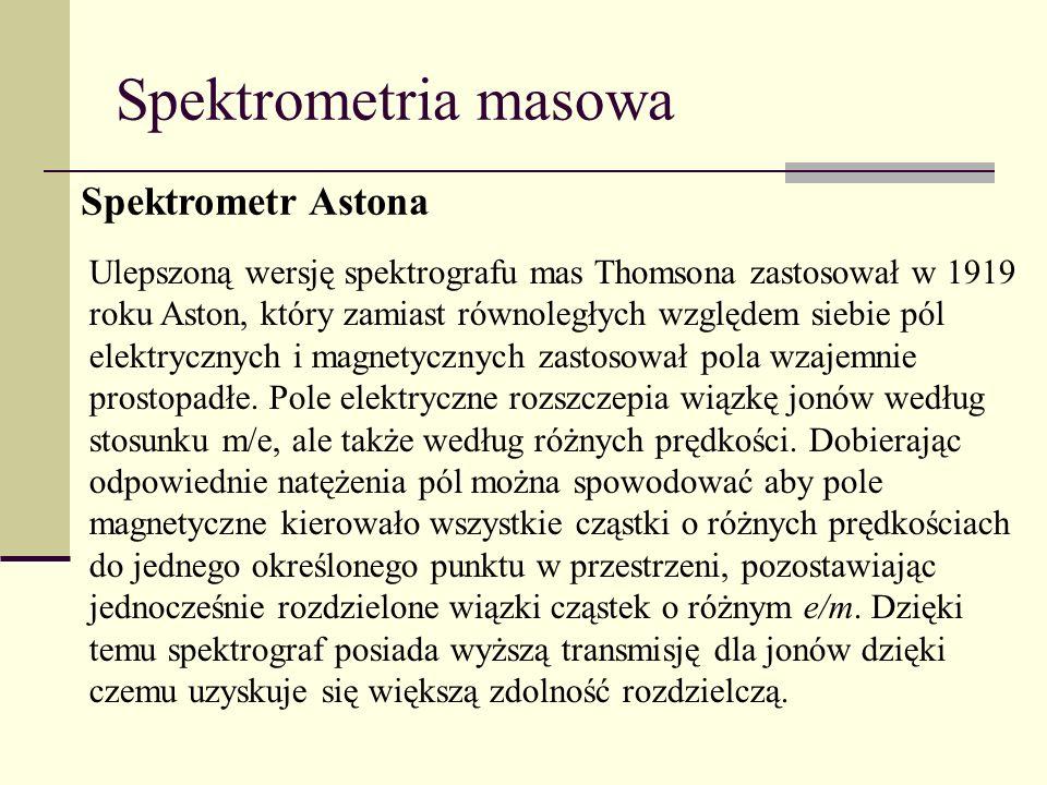 Spektrometria masowa Spektrometr Astona Ulepszoną wersję spektrografu mas Thomsona zastosował w 1919 roku Aston, który zamiast równoległych względem s
