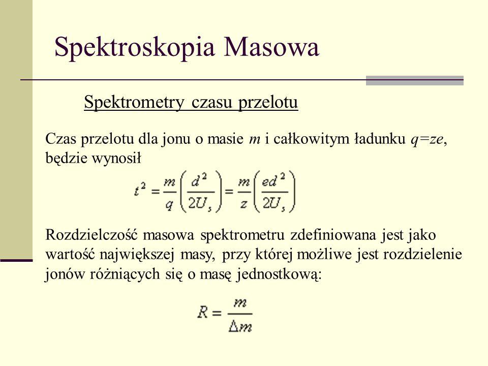 Spektroskopia Masowa Spektrometry czasu przelotu Czas przelotu dla jonu o masie m i całkowitym ładunku q=ze, będzie wynosił Rozdzielczość masowa spekt