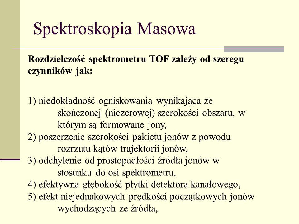Spektroskopia Masowa Rozdzielczość spektrometru TOF zależy od szeregu czynników jak: 1) niedokładność ogniskowania wynikająca ze skończonej (niezerowe