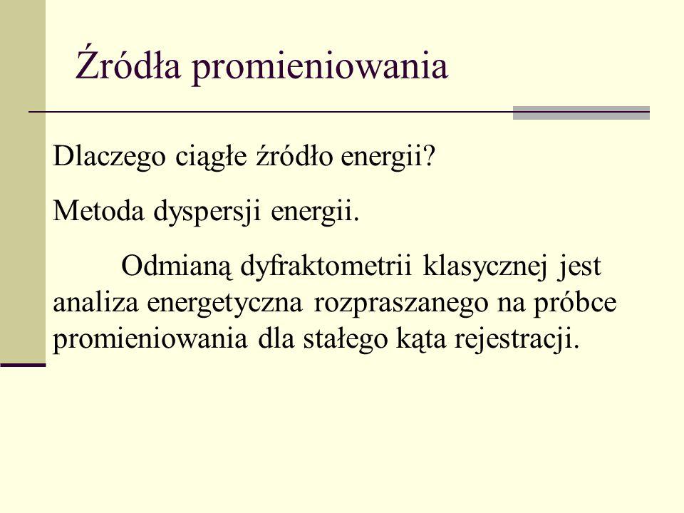 Dlaczego ciągłe źródło energii? Metoda dyspersji energii. Odmianą dyfraktometrii klasycznej jest analiza energetyczna rozpraszanego na próbce promieni
