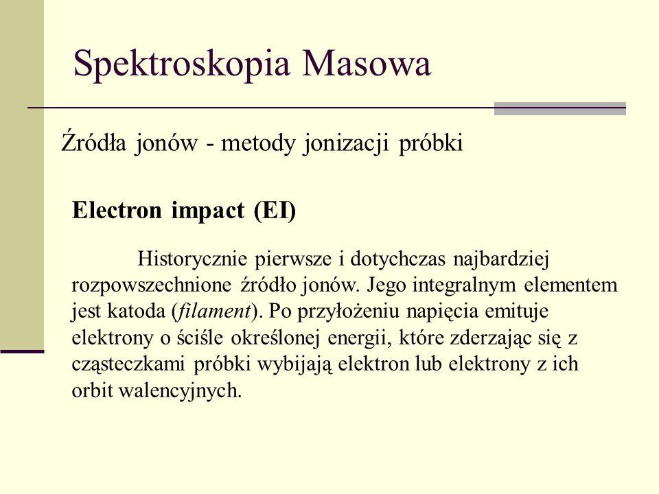 Spektroskopia Masowa Źródła jonów - metody jonizacji próbki Electron impact (EI) Historycznie pierwsze i dotychczas najbardziej rozpowszechnione źródł
