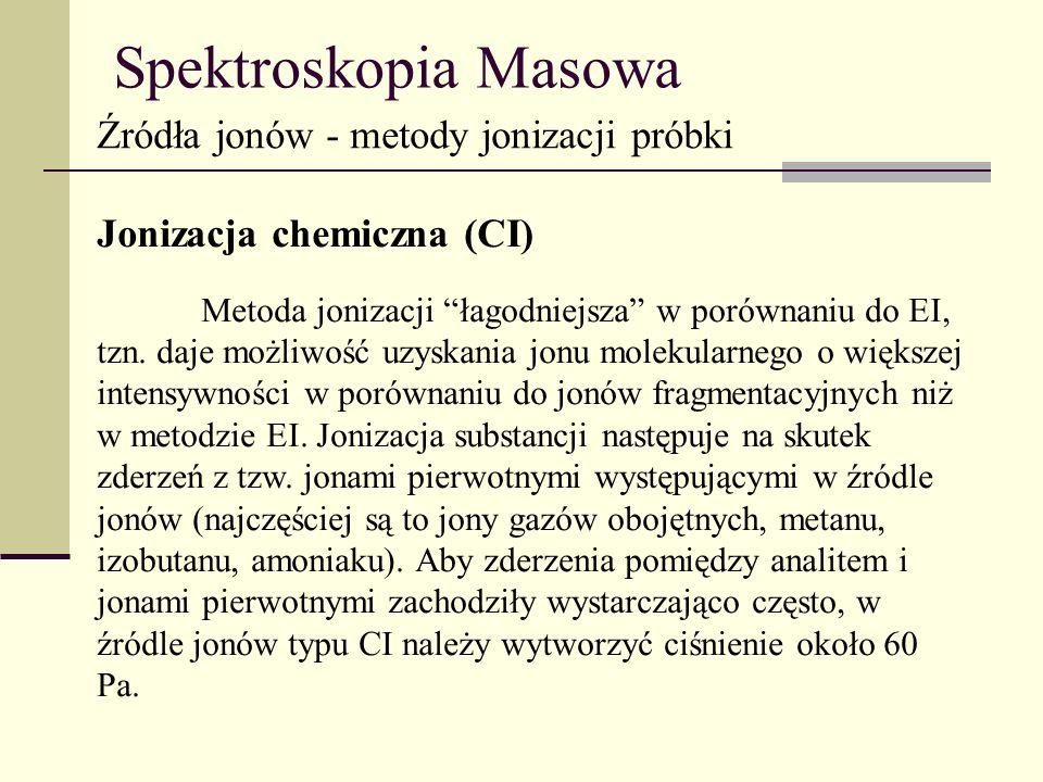 Spektroskopia Masowa Źródła jonów - metody jonizacji próbki Jonizacja chemiczna (CI) Metoda jonizacji łagodniejsza w porównaniu do EI, tzn. daje możli
