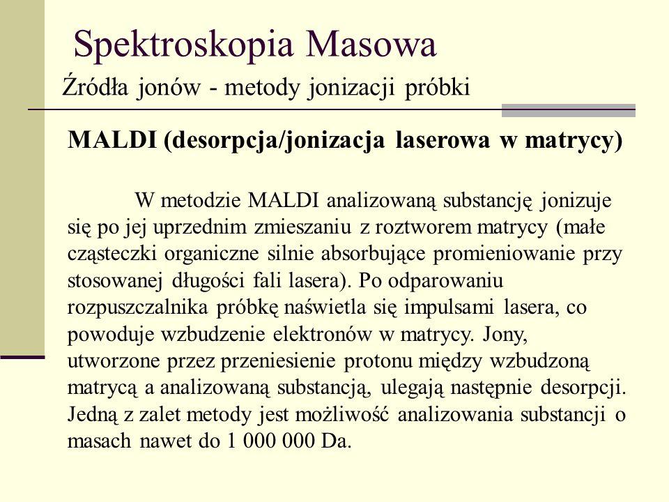 Spektroskopia Masowa Źródła jonów - metody jonizacji próbki MALDI (desorpcja/jonizacja laserowa w matrycy) W metodzie MALDI analizowaną substancję jon