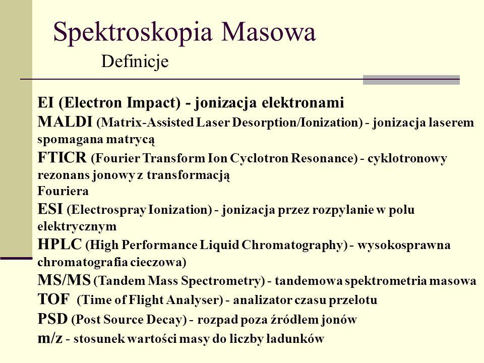 Spektroskopia Masowa Definicje EI (Electron Impact) - jonizacja elektronami MALDI (Matrix-Assisted Laser Desorption/Ionization) - jonizacja laserem sp
