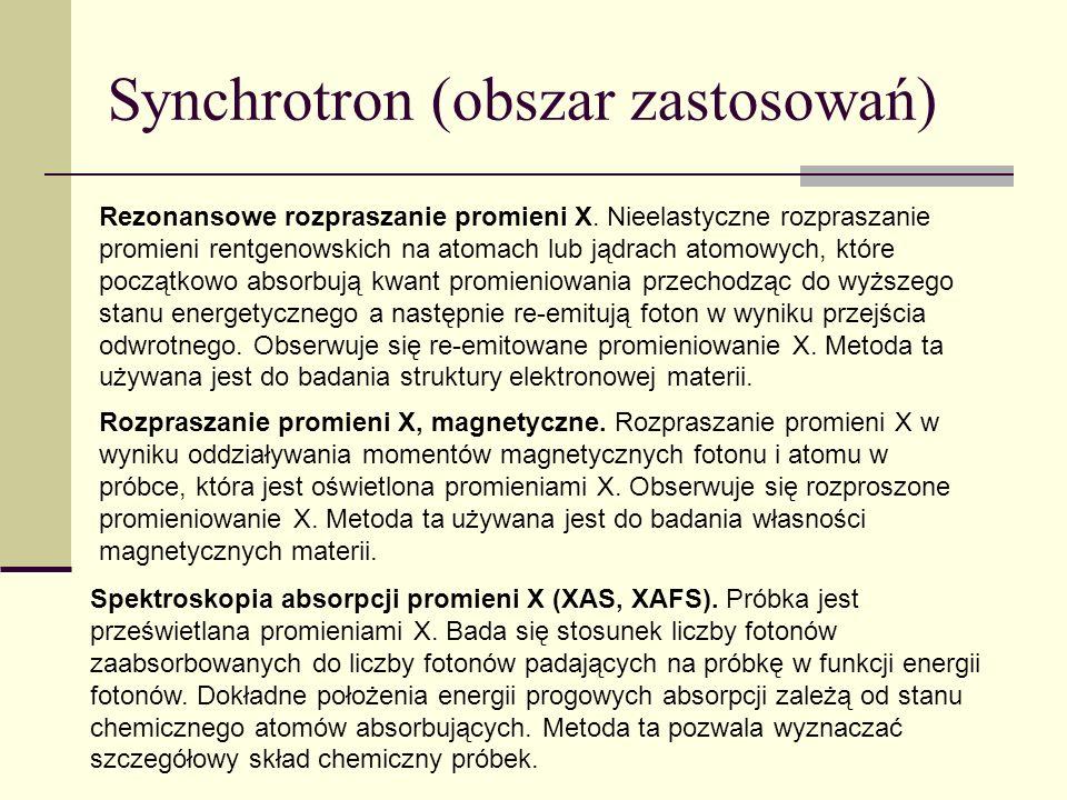 Synchrotron (obszar zastosowań) Spektroskopia absorpcji promieni X-extended fine structure (EXAFS).