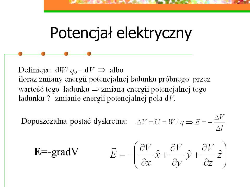Potencjał elektryczny Dopuszczalna postać dyskretna: E=-gradV
