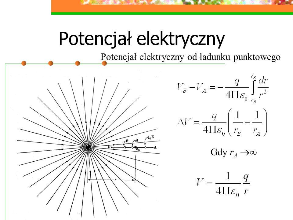 Potencjał elektryczny Potencjał elektryczny od ładunku punktowego Gdy r A