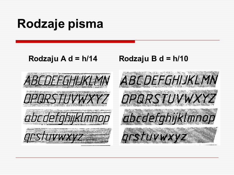 Pismo techniczne PN-EN ISO 3098 (PN-80/N-01606) Rozróżniamy rodzaje pisma : - PISMO TYPU A [d = (h/14)] - PISMO TYPU B [d = (h/10)] UWAGA ! Teczkę opi