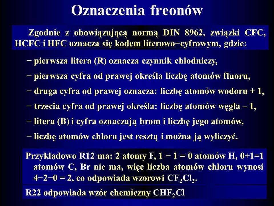 Czynniki pomp sprężarkowych Najczęściej są to freony, które zgodnie z zaleceniami ISO mają następujące skróty nazw: CFC chlorofluorowęglowodory (chlor