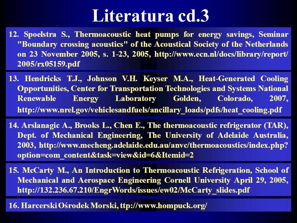 Literatura cd. 11. J.Rudnik, Chemiczna pompa ciepła z odwracalną reakcja CaO/Ca(OH)2 III Krajowa Konferencja Modernizacja Miejskich Systemów Cioepłown