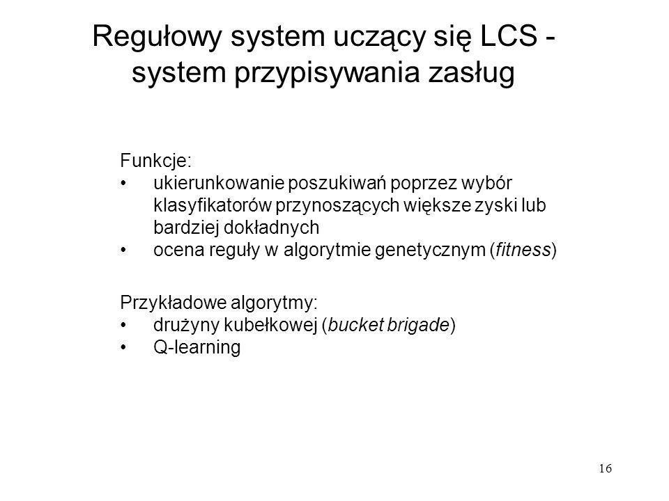 16 Regułowy system uczący się LCS - system przypisywania zasług Przykładowe algorytmy: drużyny kubełkowej (bucket brigade) Q-learning Funkcje: ukierun