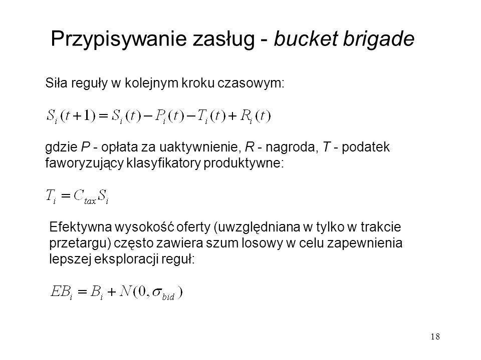18 Przypisywanie zasług - bucket brigade Siła reguły w kolejnym kroku czasowym: gdzie P - opłata za uaktywnienie, R - nagroda, T - podatek faworyzując