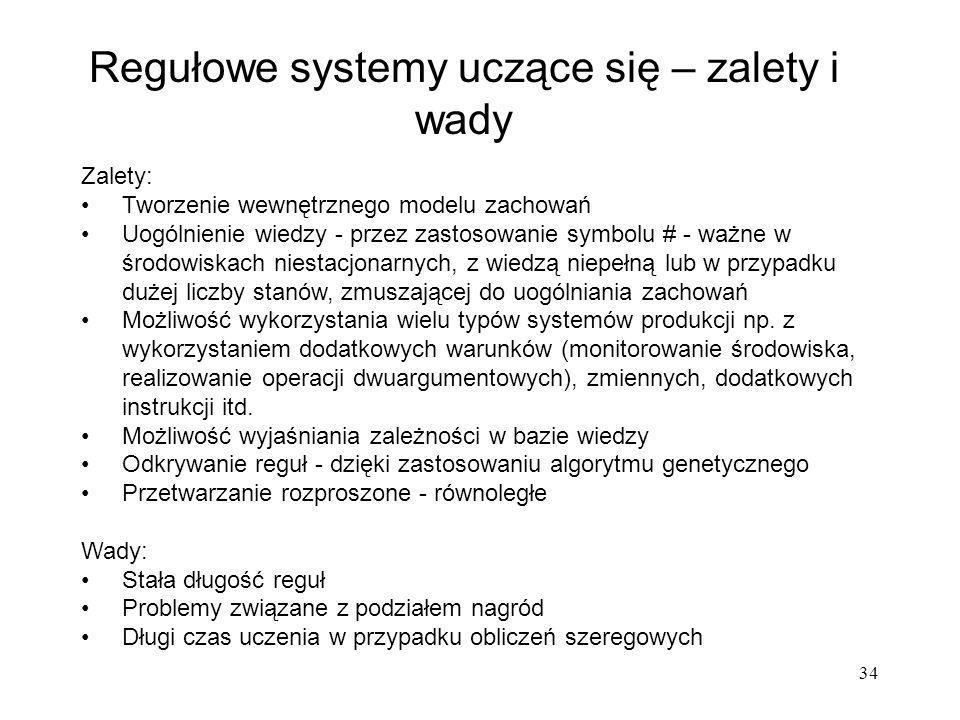34 Regułowe systemy uczące się – zalety i wady Zalety: Tworzenie wewnętrznego modelu zachowań Uogólnienie wiedzy - przez zastosowanie symbolu # - ważn