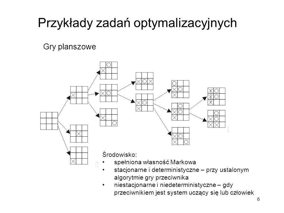 6 Przykłady zadań optymalizacyjnych Gry planszowe Środowisko: spełniona własność Markowa stacjonarne i deterministyczne – przy ustalonym algorytmie gr