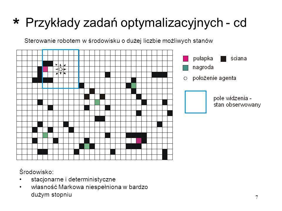 28 Środowisko: System ANIMAT (Wilson, 1985) T - drzewo F - pożywienie przykładowe otoczenie 3x3: TFT......