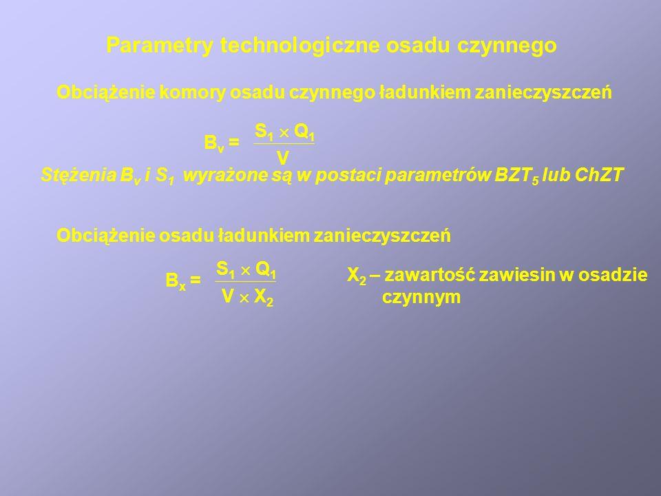 Parametry technologiczne osadu czynnego Obciążenie komory osadu czynnego ładunkiem zanieczyszczeń B v = S 1 Q 1 V Stężenia B v i S 1 wyrażone są w pos