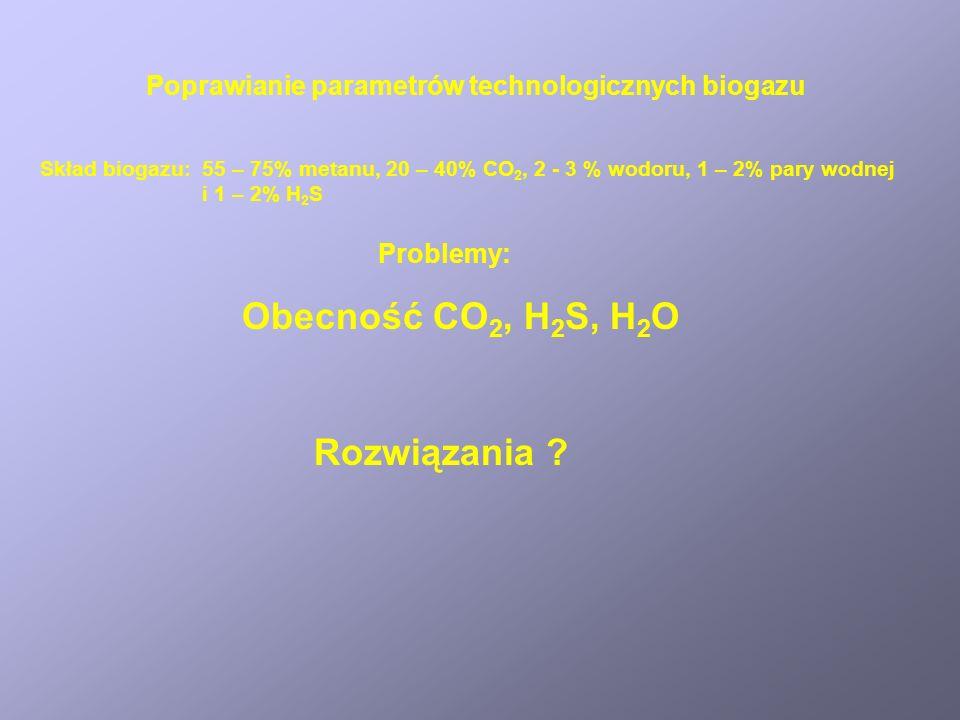 Poprawianie parametrów technologicznych biogazu Problemy: Obecność CO 2, H 2 S, H 2 O Skład biogazu: 55 – 75% metanu, 20 – 40% CO 2, 2 - 3 % wodoru, 1