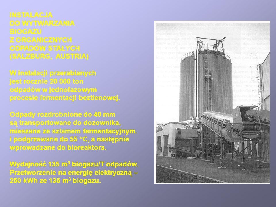 INSTALACJA DO WYTWARZANIA BIOGAZU Z ORGANICZNYCH ODPADÓW STAŁYCH (SALZBURG, AUSTRIA) W instalacji przerabianych jest rocznie 20 000 ton odpadów w jedn