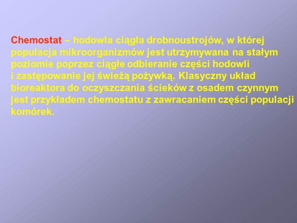 Chemostat – hodowla ciągła drobnoustrojów, w której populacja mikroorganizmów jest utrzymywana na stałym poziomie poprzez ciągłe odbieranie części hod