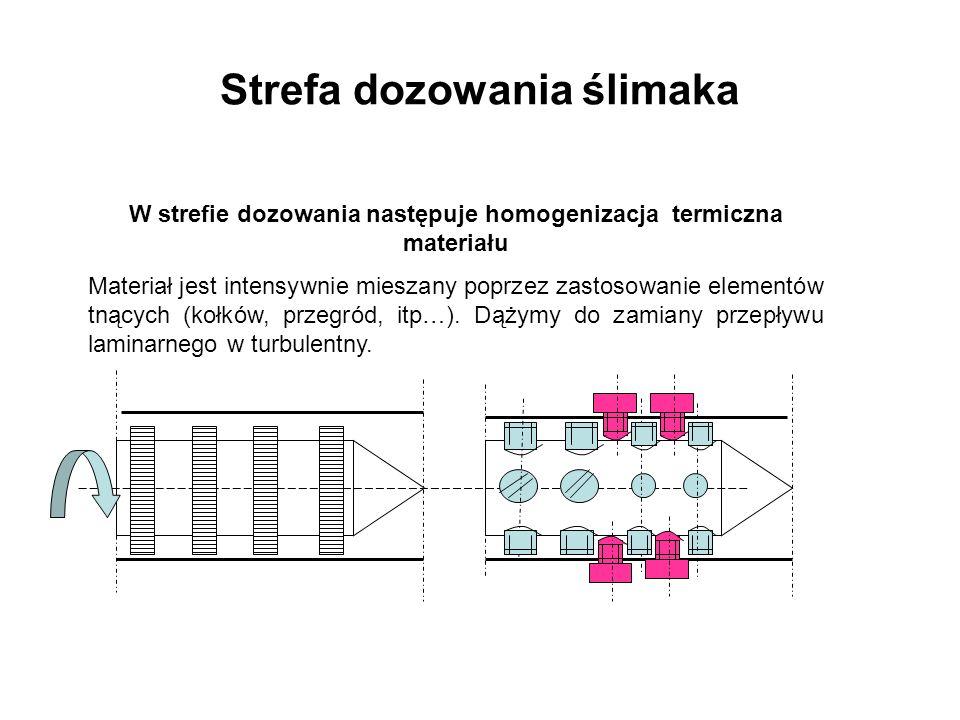 Strefa dozowania ślimaka W strefie dozowania następuje homogenizacja termiczna materiału Materiał jest intensywnie mieszany poprzez zastosowanie eleme