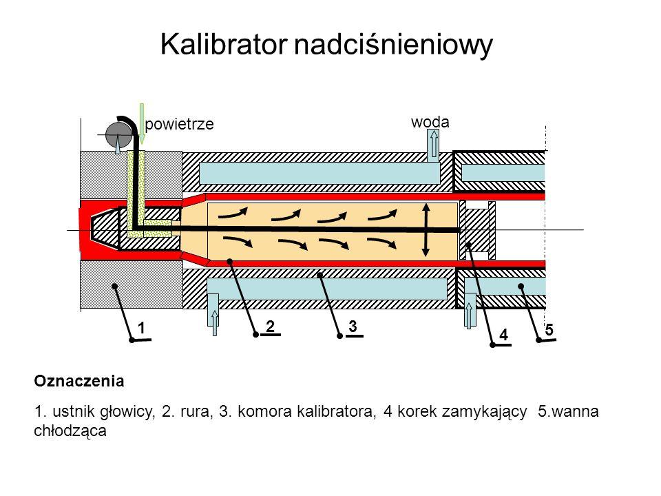 Kalibrator nadciśnieniowy powietrze Oznaczenia 1. ustnik głowicy, 2. rura, 3. komora kalibratora, 4 korek zamykający 5.wanna chłodząca 4 1 23 5 woda