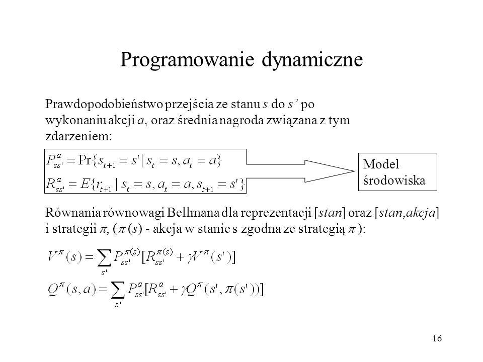 16 Prawdopodobieństwo przejścia ze stanu s do s po wykonaniu akcji a, oraz średnia nagroda związana z tym zdarzeniem: Równania równowagi Bellmana dla