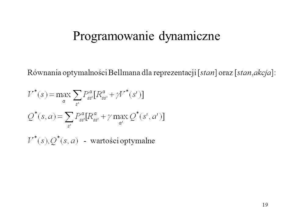 19 Równania optymalności Bellmana dla reprezentacji [stan] oraz [stan,akcja]: Programowanie dynamiczne - wartości optymalne