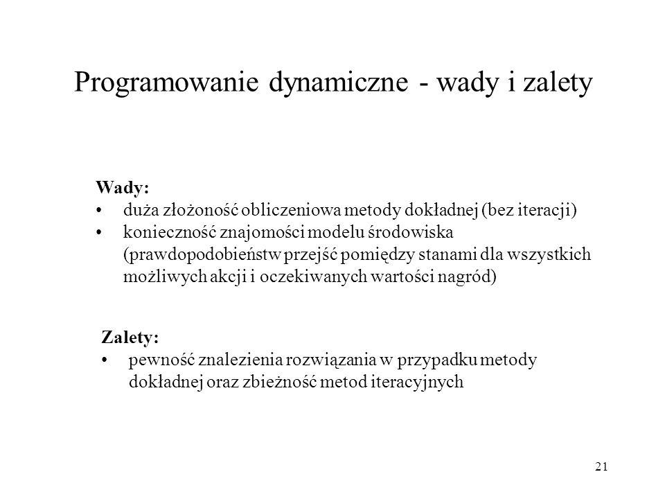 21 Programowanie dynamiczne - wady i zalety Wady: duża złożoność obliczeniowa metody dokładnej (bez iteracji) konieczność znajomości modelu środowiska