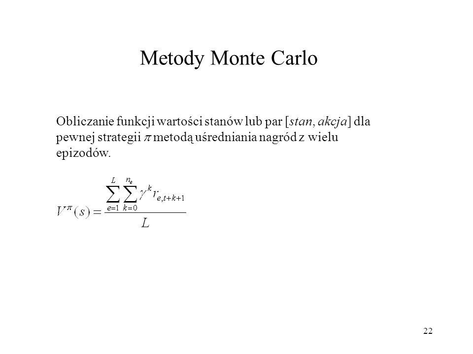 22 Metody Monte Carlo Obliczanie funkcji wartości stanów lub par [stan, akcja] dla pewnej strategii metodą uśredniania nagród z wielu epizodów.