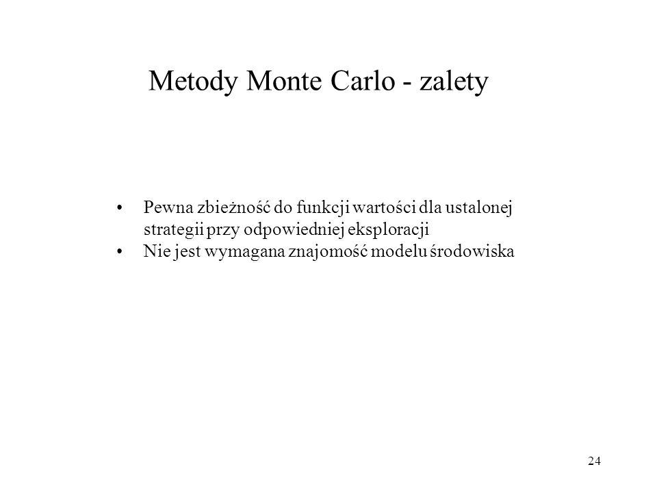 24 Metody Monte Carlo - zalety Pewna zbieżność do funkcji wartości dla ustalonej strategii przy odpowiedniej eksploracji Nie jest wymagana znajomość m