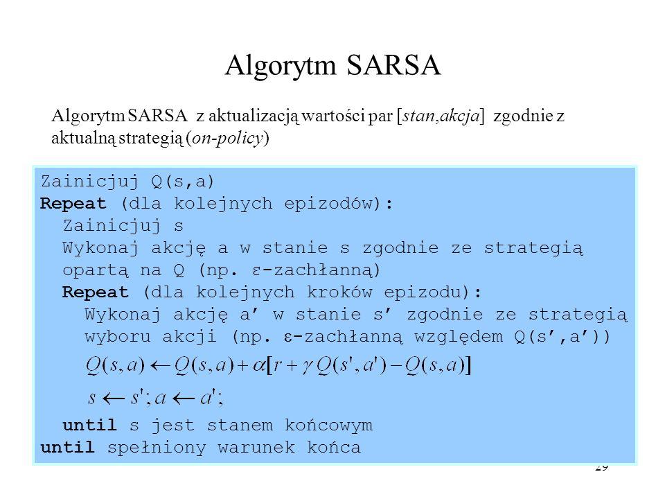 29 Algorytm SARSA Algorytm SARSA z aktualizacją wartości par [stan,akcja] zgodnie z aktualną strategią (on-policy) Zainicjuj Q(s,a) Repeat (dla kolejn