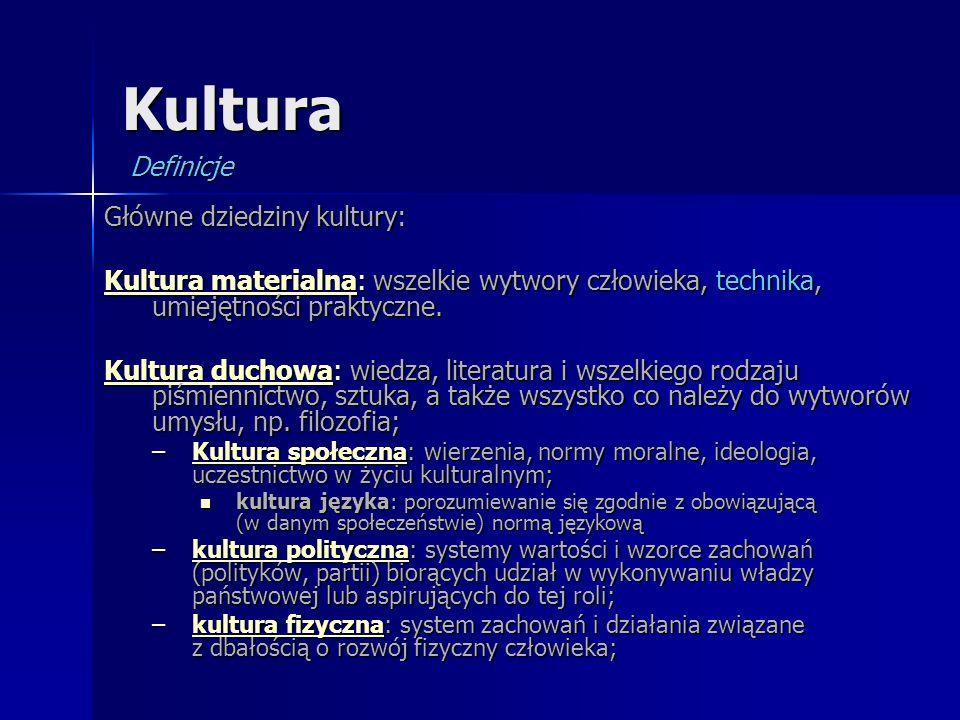 Kultura Główne dziedziny kultury: Kultura materialnaKultura materialna: wszelkie wytwory człowieka, technika, umiejętności praktyczne. Kultura materia