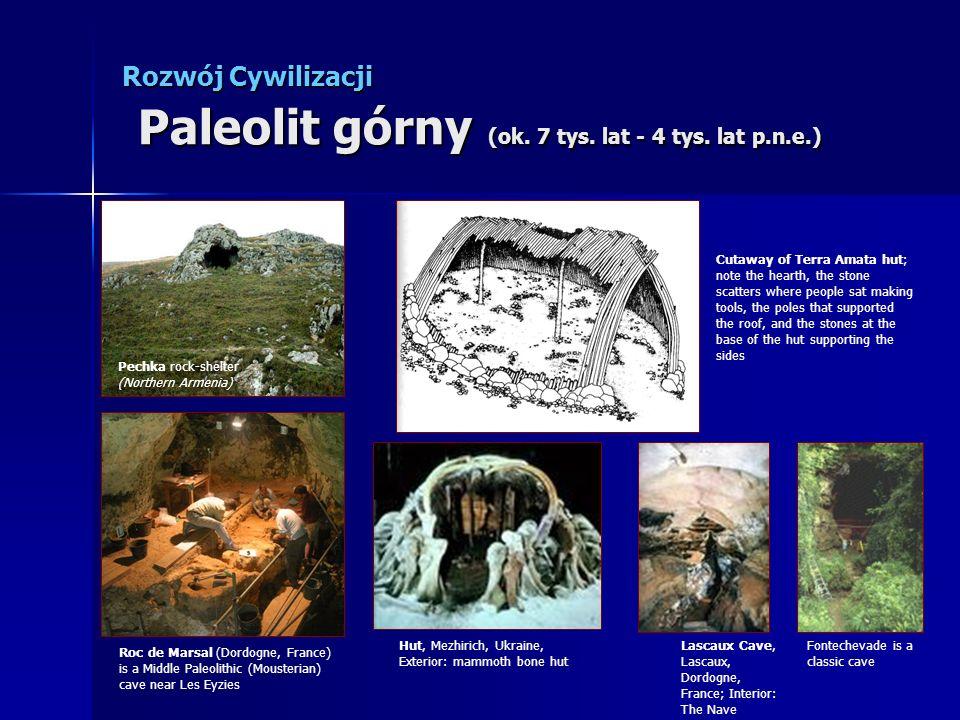 Rozwój Cywilizacji Paleolit górny (ok. 7 tys. lat - 4 tys. lat p.n.e.) Pechka rock-shelter (Northern Armenia) Hut, Mezhirich, Ukraine, Exterior: mammo