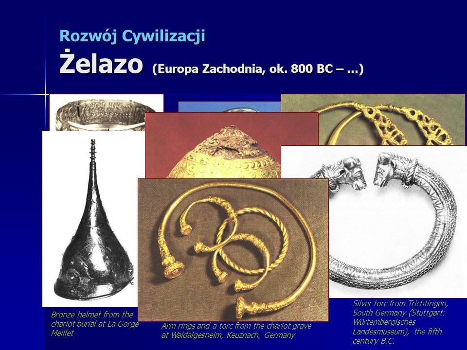 Rozwój Cywilizacji Żelazo (Europa Zachodnia, ok. 800 BC – …) Silver Gunderstrup Cauldron. Decorated with Celtic divinities Silver coin with stylized h