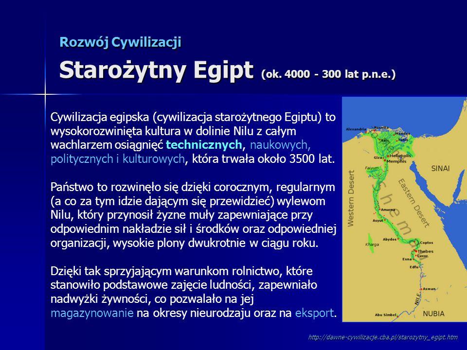 Rozwój Cywilizacji Starożytny Egipt (ok. 4000 - 300 lat p.n.e.) Cywilizacja egipska (cywilizacja starożytnego Egiptu) to wysokorozwinięta kultura w do