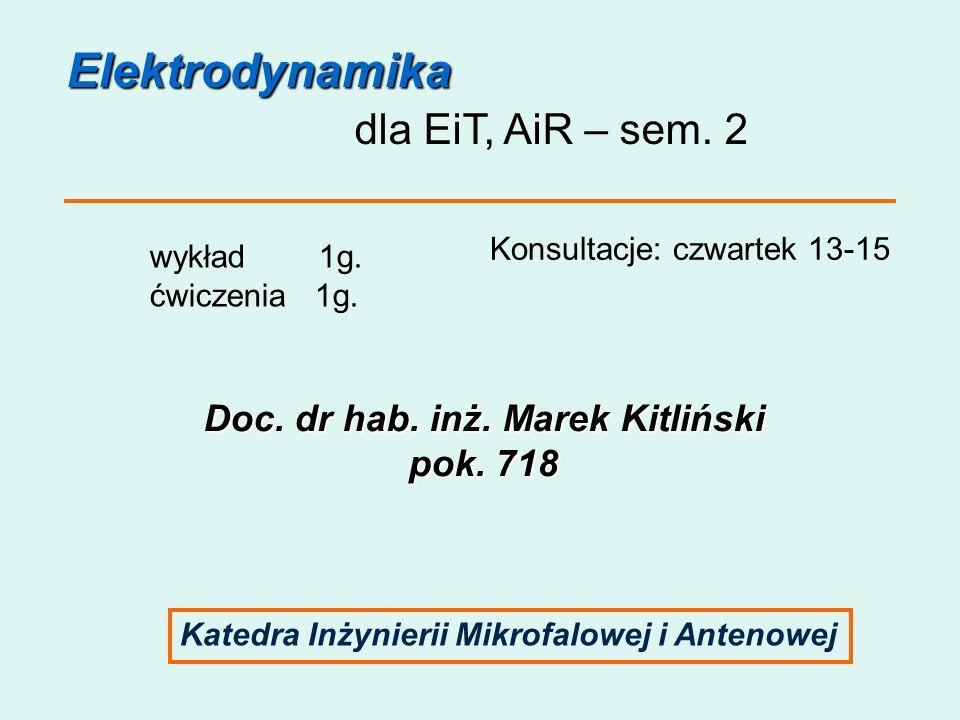 Elektrodynamika dla EiT, AiR – sem. 2 wykład 1g. ćwiczenia 1g. Konsultacje: czwartek 13-15 Doc. dr hab. inż. Marek Kitliński pok. 718 Katedra Inżynier