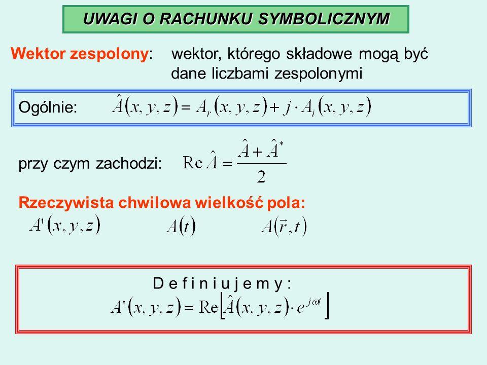 UWAGI O RACHUNKU SYMBOLICZNYM Wektor zespolony: wektor, którego składowe mogą być dane liczbami zespolonymi Ogólnie: przy czym zachodzi: Rzeczywista c