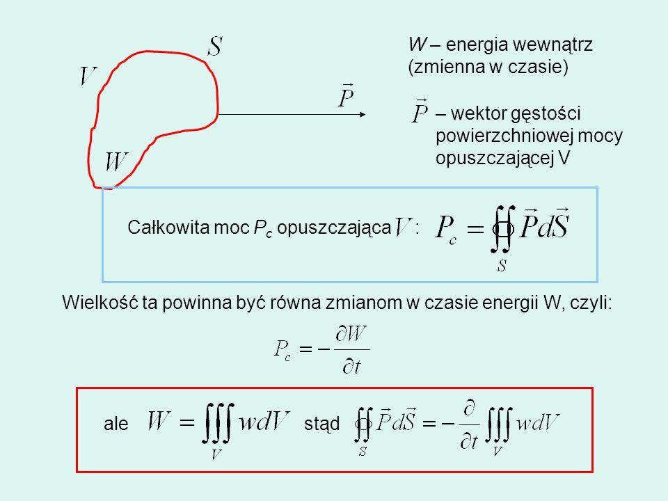 W – energia wewnątrz (zmienna w czasie) – wektor gęstości powierzchniowej mocy opuszczającej V Całkowita moc P c opuszczająca : Wielkość ta powinna by