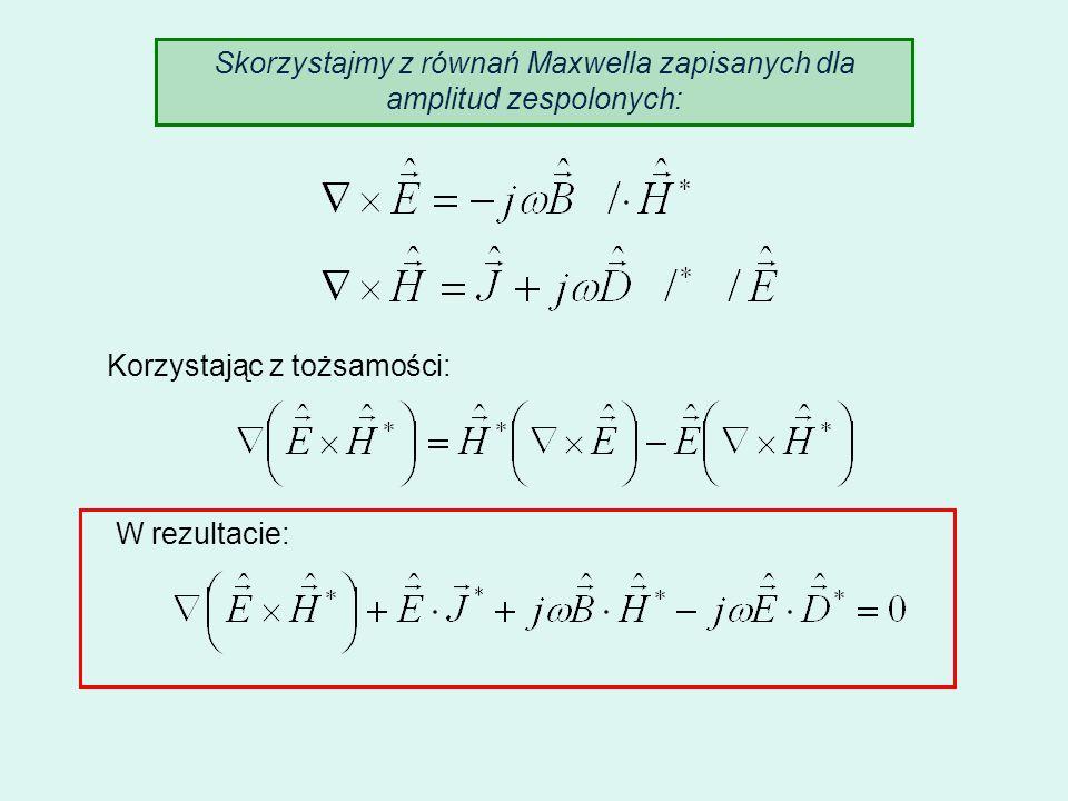 Skorzystajmy z równań Maxwella zapisanych dla amplitud zespolonych: Korzystając z tożsamości: W rezultacie: