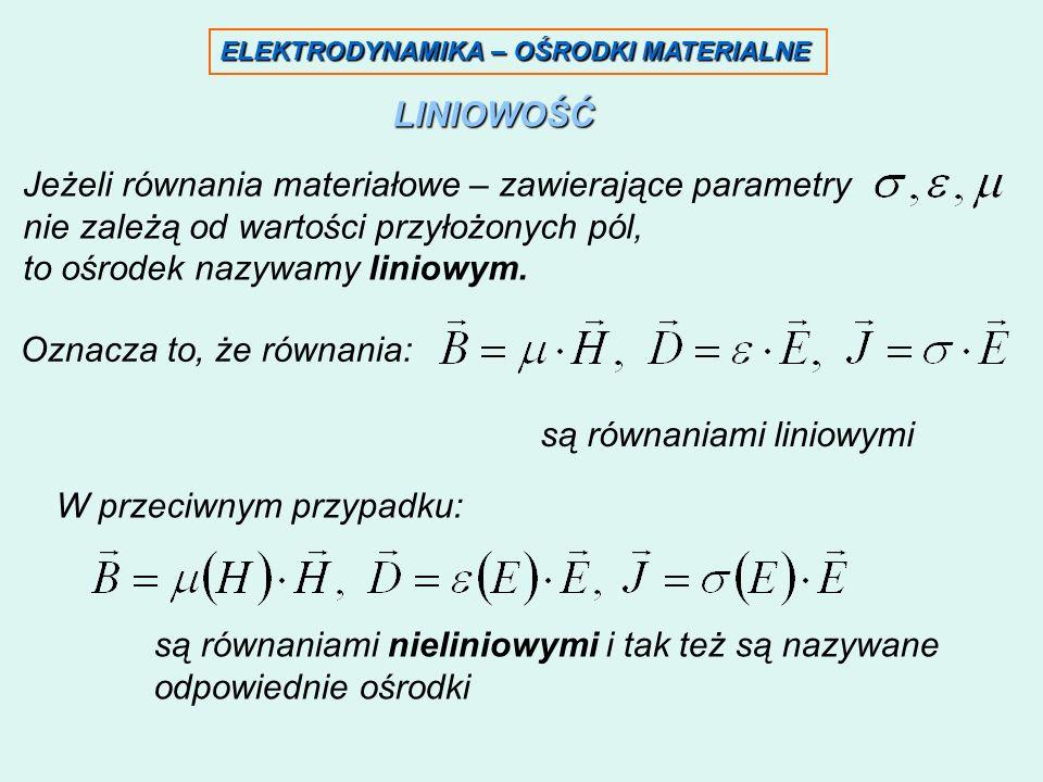 ELEKTRODYNAMIKA – OŚRODKI MATERIALNE LINIOWOŚĆ Jeżeli równania materiałowe – zawierające parametry nie zależą od wartości przyłożonych pól, to ośrodek