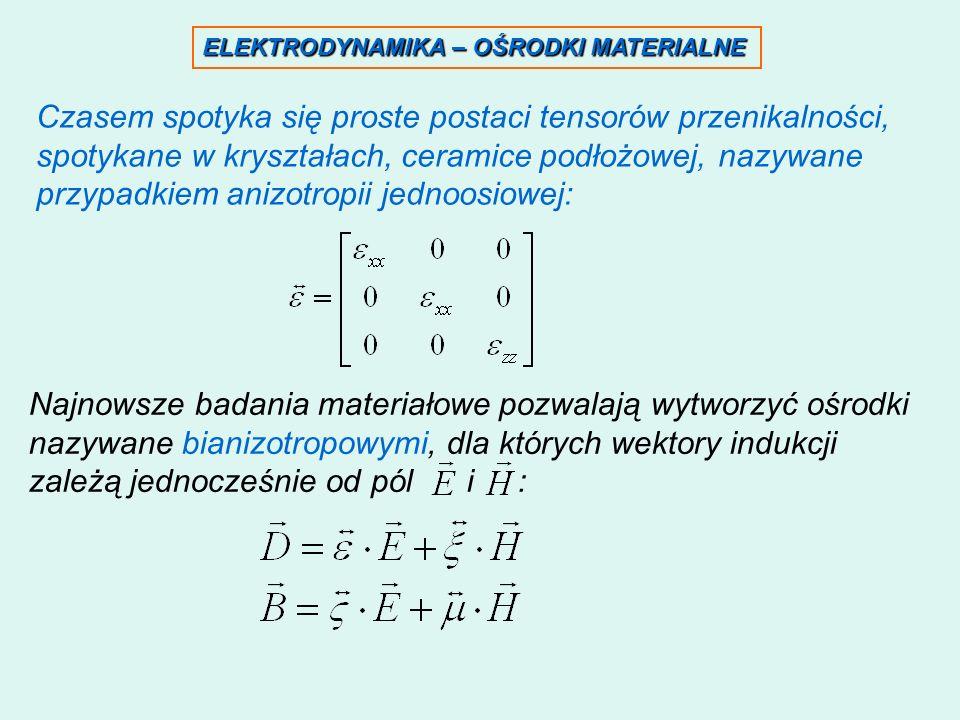 ELEKTRODYNAMIKA – OŚRODKI MATERIALNE Czasem spotyka się proste postaci tensorów przenikalności, spotykane w kryształach, ceramice podłożowej, nazywane