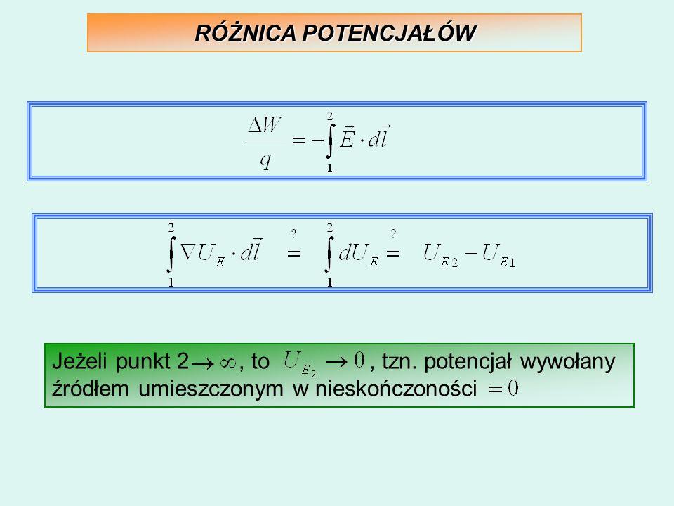 RÓŻNICA POTENCJAŁÓW Jeżeli punkt 2, to, tzn. potencjał wywołany źródłem umieszczonym w nieskończoności