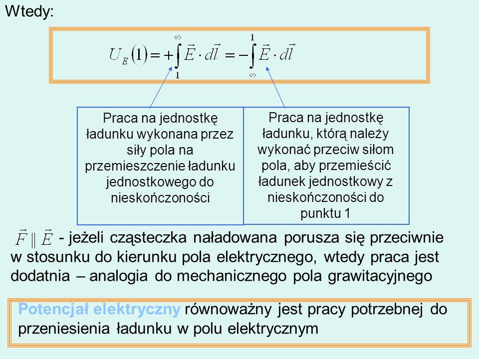 - jeżeli cząsteczka naładowana porusza się przeciwnie w stosunku do kierunku pola elektrycznego, wtedy praca jest dodatnia – analogia do mechanicznego