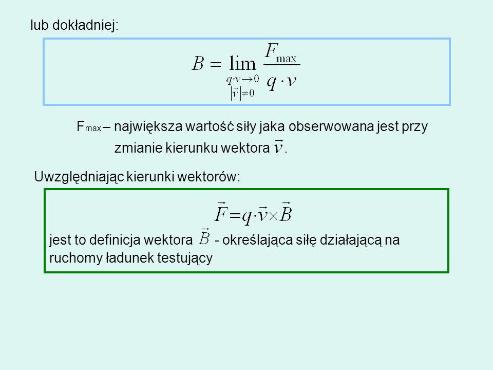 jest to definicja wektora - określająca siłę działającą na ruchomy ładunek testujący lub dokładniej: F max – największa wartość siły jaka obserwowana