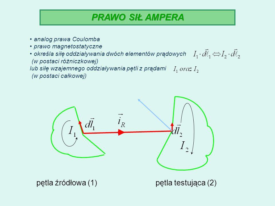 analog prawa Coulomba prawo magnetostatyczne określa siłę oddziaływania dwóch elementów prądowych (w postaci różniczkowej) lub siłę wzajemnego oddział