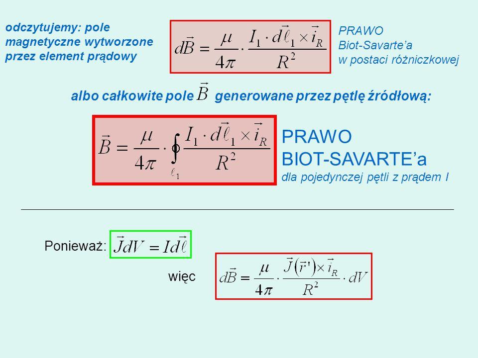odczytujemy: pole magnetyczne wytworzone przez element prądowy albo całkowite pole generowane przez pętlę źródłową: PRAWO BIOT-SAVARTEa dla pojedyncze