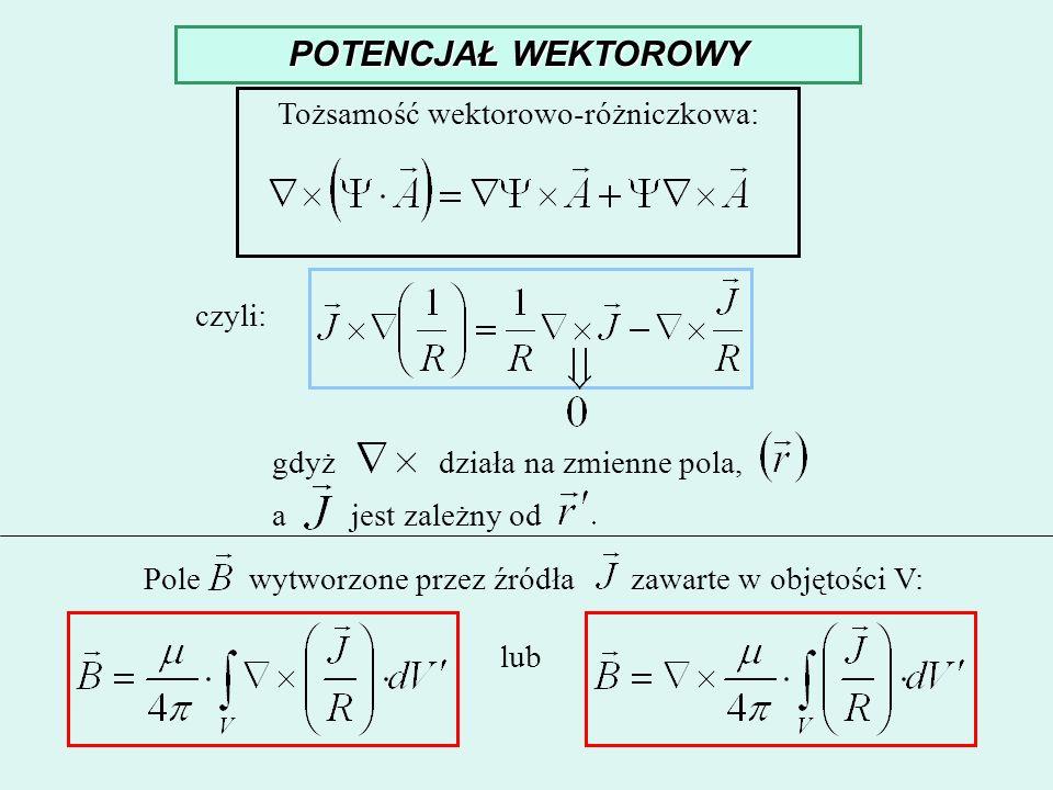 POTENCJAŁ WEKTOROWY Tożsamość wektorowo-różniczkowa: czyli: gdyż działa na zmienne pola, a jest zależny od Pole wytworzone przez źródła zawarte w obję