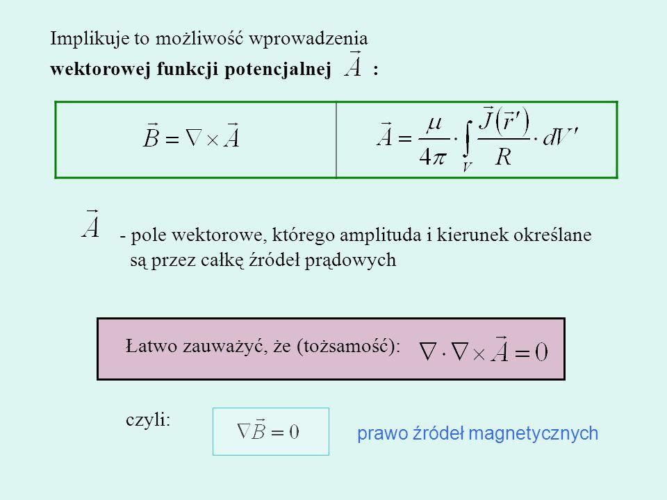Implikuje to możliwość wprowadzenia wektorowej funkcji potencjalnej : Łatwo zauważyć, że (tożsamość): czyli: - pole wektorowe, którego amplituda i kie