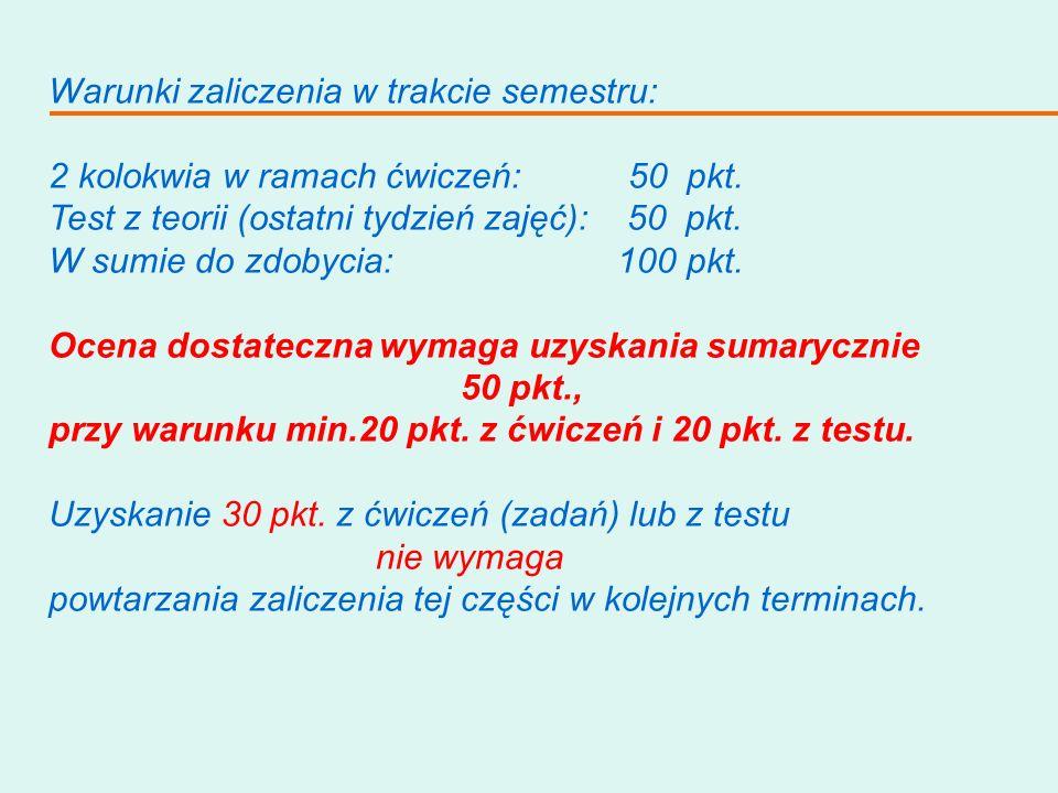 Warunki zaliczenia w trakcie semestru: 2 kolokwia w ramach ćwiczeń: 50 pkt. Test z teorii (ostatni tydzień zajęć): 50 pkt. W sumie do zdobycia: 100 pk